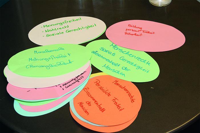 """bunte Moderationskarten mit Begriffen wie """"Meinungsfreiheit"""", """"Menschenrechte"""", """"soziale Gerechtigkeit"""""""