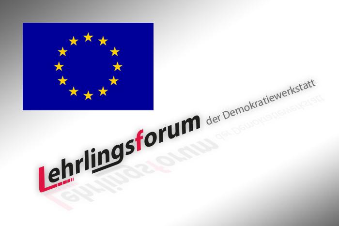 Logo Lehrlingsforum mit der EU-Flagge