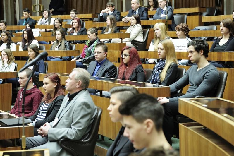 Die Abgeordneten des Lehrlingsparlaments bei der abschließenden Plenarsitzung im Nationalratssaal
