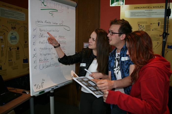 """Lehrlinge arbeiten Ideen zum Thema """"Rechte"""" auf einem Flipchart aus"""