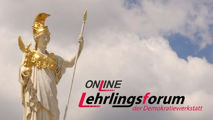 Ausschnitt der Pallas Athene und Logo des Online Lehrlingsforums vor Wolken